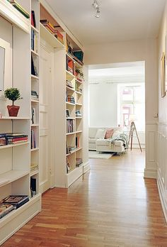 because hallways are too narrow for artwork & bookshelves add interest and storage hallway bookshelves.because hallways are too narrow for artwork & bookshelves add interest and storage Apartment Interior Design, Home Interior, Style At Home, Bookshelves Built In, Bookcases, Built Ins, Book Shelves, Bookshelf Design, Home Libraries