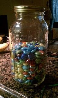 Motivation Marbles---- This is going to be my first Pinterest craft project! What a great idea to show how many pounds you have to lose and how many you have lost.