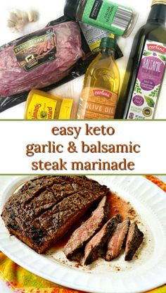 If you need a really easy low carb dinner, try this keto flank steak with an easy garlic & balsamic marinade. It just takes minutes to marinate the flank steak and and then grill it for dinner. The steak marinade is so simple yet flavorful and each serving has only 2.9g net carbs. Healthy Low Carb Recipes, Low Carb Dinner Recipes, Keto Recipes, Lunch Recipes, Healthy Foods, Healthy Eating, Cooking Recipes, Balsamic Marinade, Marinated Steak
