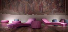 Wave Chaise Loungers for indoor/outdoor use.