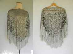 1970s Vintage Stevie Nicks Silver Gray Metallic Floral Lace Cut Burn out Sheer & Gauzy Fringe Overhead Boho Poncho Shawl by TheThriftyBuddah on Etsy, $20.00