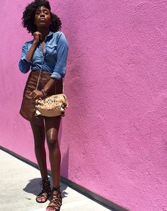 Style of The Week: Faux leather skirt jean shirt— The Black Girls Guide