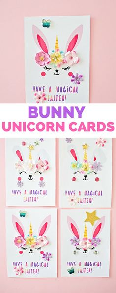 Bunny Unicorn Easter Cards #eastercrafts #kidscraft #kidsart #unicorncraft #unicorndiy #hellowwonderful