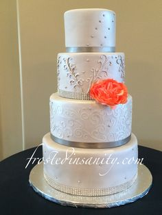 grey & coral wedding cake