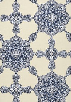 MEDALLION PAISLEY, Navy, T88729, Collection Trade Routes from Thibaut wallpaper