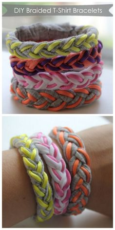 Sew T-Shirt DIY t shirt bracelet - DIY your own braided t-shirt bracelets. Cute Crafts, Crafts To Do, Crafts For Kids, Arts And Crafts, Do It Yourself Mode, Moda Natural, T Shirt Bracelet, Diy Bracelet, Braided T Shirts