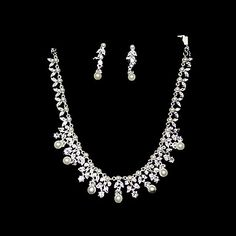 Pearl Beautiful Ladies Necklace and Earrings Jewelry Set (50 cm) – USD $ 19.99