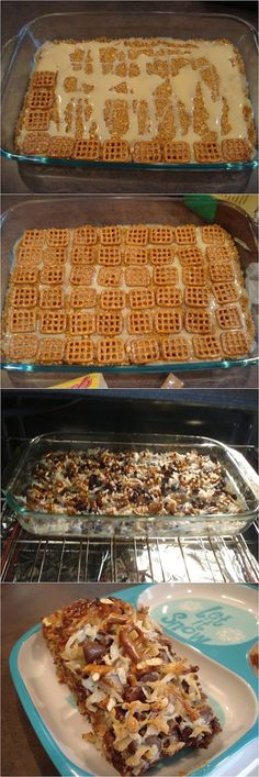 Caramel Pretzel Magic Bars ~ Focuseat