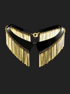 """Necklace 'Crystal Collar"""" by Zehlia Horsley Jewellery; gold fringe/ leather collar necklace"""