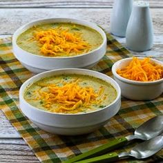 Cheesy Low-Carb Broccoli and Cauliflower Soup (Gluten-Free, Meatless) [from KalynsKitchen.com]