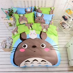 2016 Kids Bedding Set Girls Pure Cotton Bed Sheet Sets Totoro Bed Linen Cartoon Duvet Cover Bed Sheet 4pcs Full Queen Bedspreads //Price: $49.40 & FREE Shipping //     #bedding sets