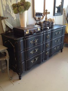 French Shabby Chic Black Buffet with simply exquisite lines!   www.facebook.com/hautevin