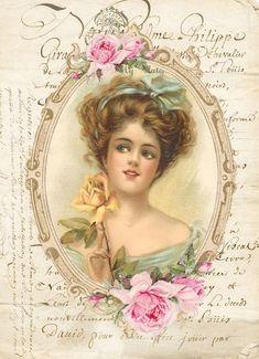 (66) Одноклассники Decoupage Vintage, Shabby Vintage, Vintage Ephemera, Vintage Girls, Vintage Postcards, Victorian Paintings, Victorian Art, Victorian Women, Antique Photos