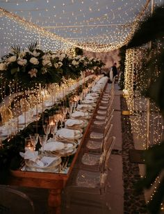 Fairy lights for this Santorini wedding reception! Dining under a curtain of twinkle lights.so romantic! dinner outdoor A Magical Santorini Wedding with Fairy Lights + Tropical Florals - Green Wedding Shoes Romantic Dinner Setting, Romantic Dinners, Romantic Weddings, Country Weddings, Romantic Wedding Centerpieces, Most Romantic, Night Beach Weddings, Picnic Weddings, Bohemian Weddings