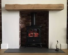 Fireplace Mantelpieces & Surrounds for sale Oak Beam Fireplace, Floating Mantle, Mantle Piece, Rustic Fireplaces, Log Burner, Fireplace Accessories, French Oak, Beams, Shelf