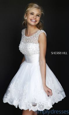 Dress, Short High Neck White Sherri Hill Dress - Simply Dresses