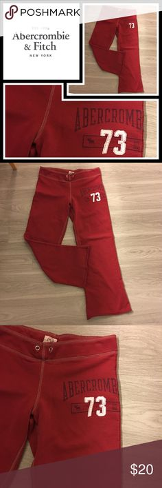"Abercrombie & Fitch Red Sweatpants ❤ Pre loved but in very good condition and lots of life left - missing the strings, 29"" inseam Abercrombie & Fitch Pants"