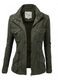 Jtomson - Freedom of Fashion - Jtomson White Crow Womens Trendy Camo Angeline Military Cotton Drawstring Jacket with Studs