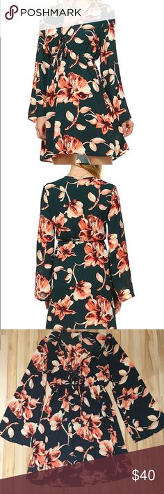Floral Bell Sleeve Deep V Dress Brand new! Hunter green and pink floral summer dress. Beautiful and feminine! Lightweight but not sheer material. Deep v front with tie, empire waist and bell sleeves. Made in the USA! Size medium, but can fit small! 2 Hearts Dresses Mini