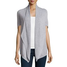 Neiman Marcus Elbow-Sleeve Cocoon Cardigan ($53) ❤ liked on Polyvore featuring tops, cardigans, light heat, cocoon cardigan, open front cardigan, elbow sleeve cardigan, batwing sleeve tops и half sleeve top