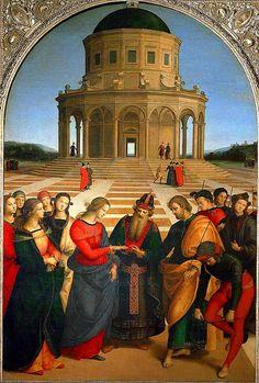 Raffaello - Sposalizio della Vergine (1504)  Kadınların Hristiyan dinindeki durumlarının tasvir edilmeye çalışıldığı eserdir. Milano'da bulunan Piancoteca di Brera'da sergilenmektedir.