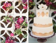 MID-CENTURY MODERN PALM SPRINGS WEDDING INSPIRATION  |  Photography by Jessica Claire  | Hotel Lautner |  Floral design by Oak & the Owl  |  Cake by Over the Rainbow  | screen block / breeze block wall with flowers