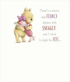 £2.75 GBP - Winnie The Pooh Piglet There's A Reason Why Cuddly Rhymes With Snuggly Open Card #ebay #Home & Garden