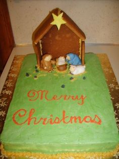 gingerbread nativity | fondant people, buttercream iced, gingerbread house