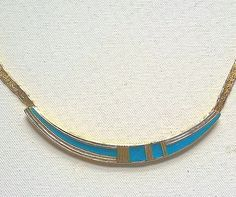 Orena Paris Choker Necklace Aqua Blue Enamel Pendant French Vintage