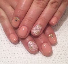 gel nails with lace and gems by Regina http://instagram.com/nailsbyregina