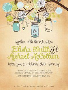 Mariage bleu & vert vintage ou Invitation de douche de mariage