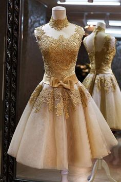 Prepare the prom dresses 2012 for the upcoming prom? Then you need to see  gold lace pageant dress a line knee length hoster evening dress high neck 2015 short prom dresses luxurious gold party dresses in tomy91 and other prom dresses for children and prom dresses juniors on DHgate.com.