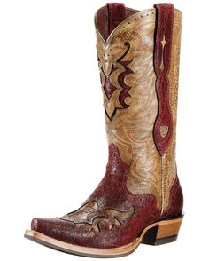 Ariat Women's Rienda Cowgirl Boot - Roughed Red/Rodeo Tan  http://www.countryoutfitter.com/products/29814-womens-rienda-boot-roughed-red-rodeo-tan
