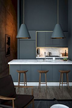 40 Gorgeous Grey Kitchens Often used in bedroom design, the soft appeal of grey can cool many interiors. Yet one secret power remains – its subtle transformation of kitchens. Often left Contemporary Kitchen Cabinets, Modern Kitchen Design, Interior Design Kitchen, Contemporary Bedroom, Contemporary Kitchen Designs, Modern Interior, Modern Contemporary, Grey Interior Design, Home Modern