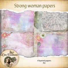 Strong woman layered papers