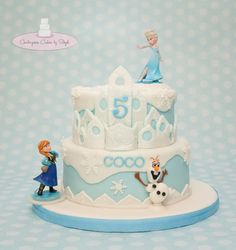- This cake was inspired by another Frozen cake. Olaf is fondant. Elsa & Anna are toys. TFL :)