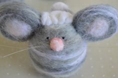 OOAK Wool needle felted mouse with curly tuft by LynnyBeeDesigns