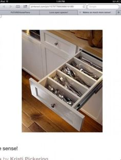 silverware drawer, much better than the ugly plactic inserts!