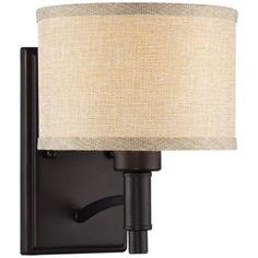 """La Pointe 9"""" High Oatmeal Linen Shade Wall Sconce - www.lampsplus.com, $69.00"""