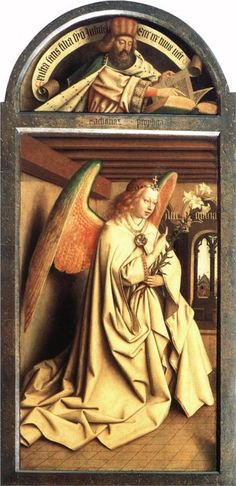 Jan Van Eyck The Ghent Altarpiece: Prophet Zacharias; Angel of the Annunciation, , Church of St. Read more about the symbolism and interpretation of The Ghent Altarpiece: Prophet Zacharias; Angel of the Annunciation by Jan Van Eyck. Jan Van Eyck, Renaissance Artists, Renaissance Paintings, Angels Among Us, Angels And Demons, Robert Campin, Ghent Altarpiece, Art Ancien, I Believe In Angels