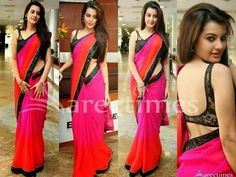 #Diksha Panth Georgette Sequins Work #Pink & Orange Plain #Bollywood Style #Saree  #Clothing #Fashion #Dress #StayTrendyWithIndiaRush #bridal #party