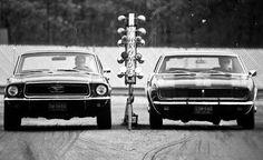 Retro Muscle: 1968 - Tunnel Port Ford Mustang vs. Chevrolet Camaro Z/28 Camaro Vs Mustang, Ford Mustang Coupe, Camaro Z, Ford Mustangs, 1967 Camaro, 1968 Mustang, Chevrolet Camaro, Chevy, Pontiac Fiero
