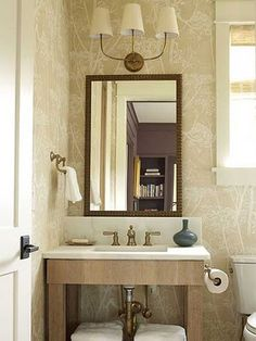 The Half Bathroom - Space-Savvy Design - Coastal Living Small Master Bath, Small Bathroom, Bathroom Ideas, Restroom Ideas, Natural Bathroom, Guest Bathrooms, Bathroom Designs, Master Bathroom, Bad Inspiration