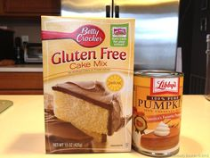 gluten free cake mix pumpkin muffins; use a 15 oz can pumpkin (400 g) + 2 tsp pumpkin pie spice + 160 g chocolate chips.  (add a little water if you want to thin the batter. I like to add 1/2 cup.) Bake @ 350 for 22-25 minutes (or until done.) Makes 12 cupcakes.