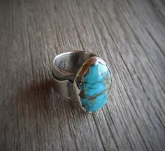 Natural Turquoise Sterling Silver Ring by QuietTimeJewelry