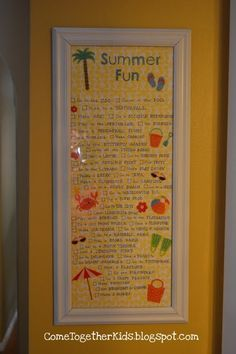 Summer Fun Checklist! Make a list of all the things you want to do, frame it, then check them off as you go. Why not get creative and think of a Fall list, bucket list or list for this next year too?