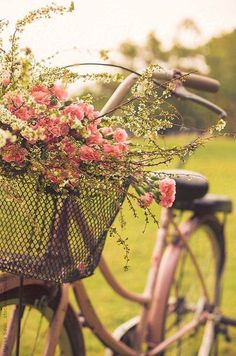 bike with flowers all over it laying next to picnic