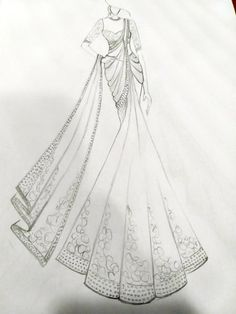 Saree sketch By jamshed Dress Design Drawing, Dress Design Sketches, Fashion Design Sketchbook, Dress Drawing, Fashion Design Drawings, Fashion Sketches, Fashion Figure Drawing, Fashion Drawing Dresses, Fashion Illustration Dresses