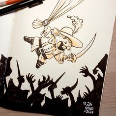 """Inktober Day 26 """"SQUEEK"""" A rogue musketeer swung into action taking on the unruly horde with a triumphant squeek! Horde, Rogues, Inktober, Art Drawings, Moose Art, Geek Stuff, Action, Illustrations, Money"""
