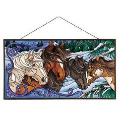 stained glass panels/flowers and birds Stained Glass Crafts, Stained Glass Patterns, Mosaic Art, Mosaic Glass, Horse Quilt, Winter Horse, Mirror Painting, Glass Artwork, Stained Glass Panels